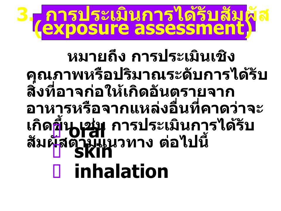 2. การอธิบายลักษณะของอันตราย (hazard characterization) หมายถึงการประเมินในเชิง คุณภาพหรือปริมาณของ ธรรมชาติของผลอันไม่พึง ประสงค์ที่อาจเกิดขึ้นจาก สิ่