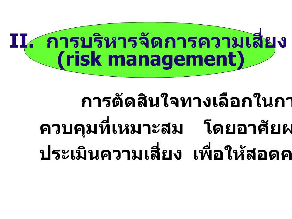 4. การอธิบายลักษณะของความเสี่ยง (risk characterization) เป็นการนำผลจาก ส่วนประกอบข้างต้น มาประมวลในเชิงคุณภาพ หรือปริมาณ เพื่อคาดคะเน โอกาส และความรุน