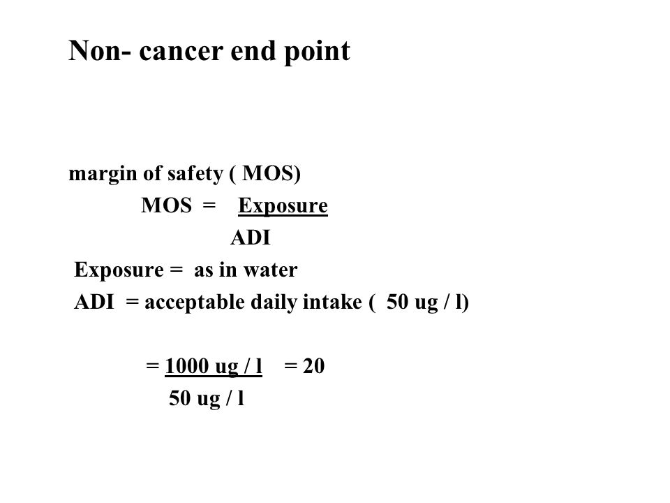 20 year exposure R = 0.6 x 0.0583 x 20 70 = 1 x 10 -3 ( chance of cancer 1 / 1000 over baseline)