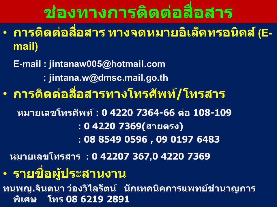 การติดต่อสื่อสาร ทางจดหมายอิเล็คทรอนิคส์ (E- mail) E-mail : jintanaw005@hotmail.com : jintana.w@dmsc.mail.go.th การติดต่อสื่อสารทางโทรศัพท์ / โทรสาร หมายเลขโทรศัพท์ : 0 4220 7364-66 ต่อ 108-109 : 0 4220 7369( สายตรง ) : 08 8549 0596, 09 0197 6483 หมายเลขโทรสาร : 0 42207 367,0 4220 7369 รายชื่อผู้ประสานงาน ทนพญ.