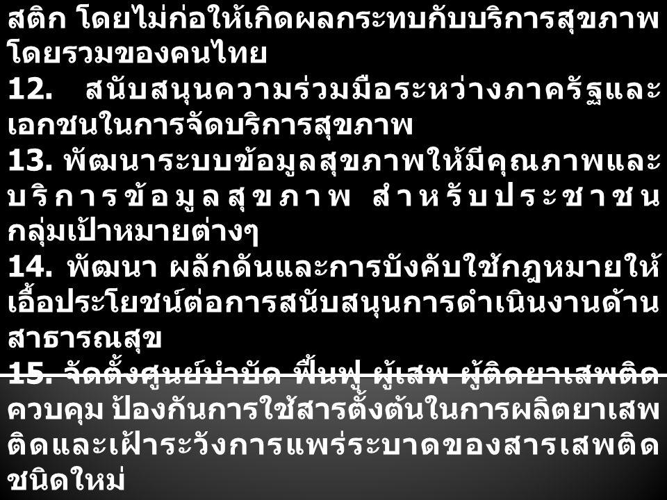 11. ส่งเสริมการจัดบริการสุขภาพนานาชาติ (Medical Hub and Wellness) และระบบโลจิ สติก โดยไม่ก่อให้เกิดผลกระทบกับบริการสุขภาพ โดยรวมของคนไทย 12. สนับสนุนค
