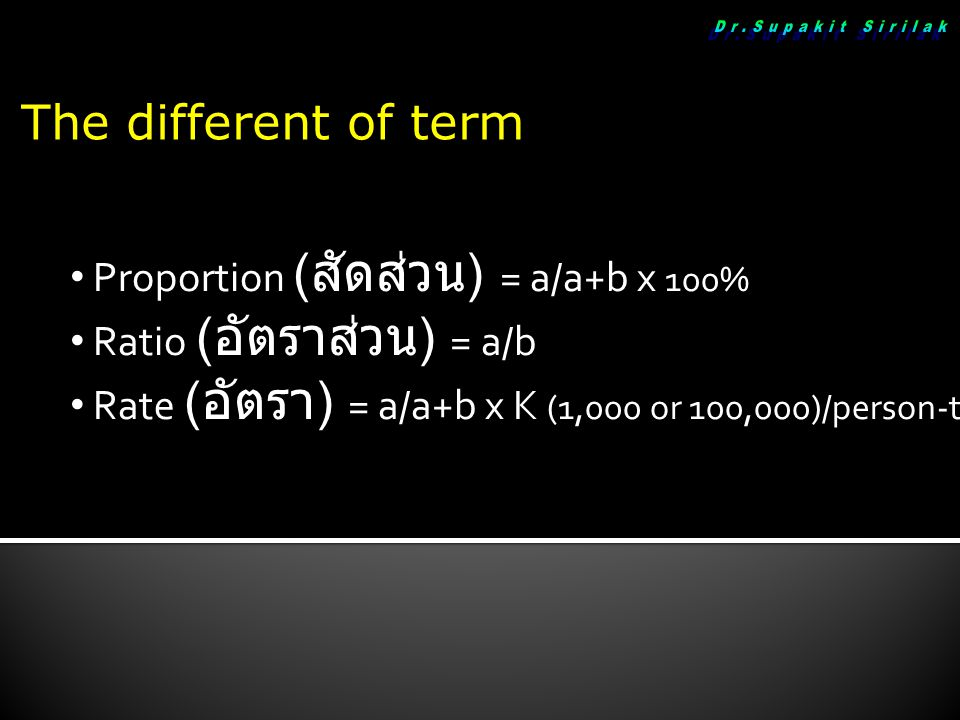 The different of term Proportion ( สัดส่วน ) = a/a+b x 100% Proportion ( สัดส่วน ) = a/a+b x 100% Ratio ( อัตราส่วน ) = a/b Ratio ( อัตราส่วน ) = a/b Rate ( อัตรา ) = a/a+b x K (1,000 or 100,000)/person-time Rate ( อัตรา ) = a/a+b x K (1,000 or 100,000)/person-time