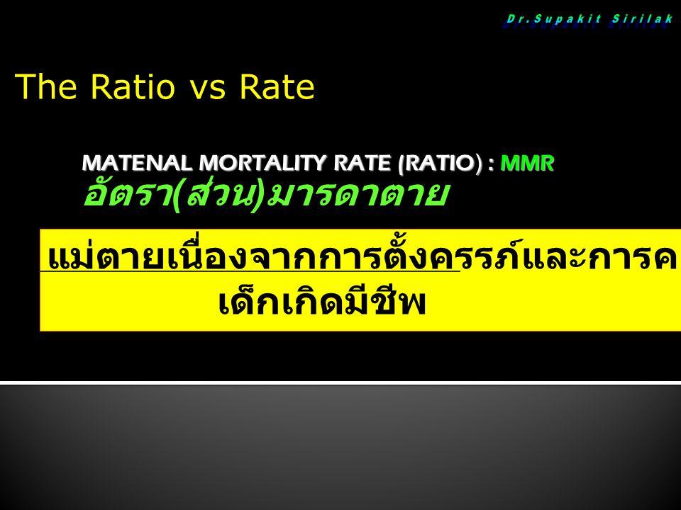 MATENAL MORTALITY RATE (RATIO) : MMR อัตรา ( ส่วน ) มารดาตาย แม่ตายเนื่องจากการตั้งครรภ์และการคลอด x 100,000 เด็กเกิดมีชีพ The Ratio vs Rate