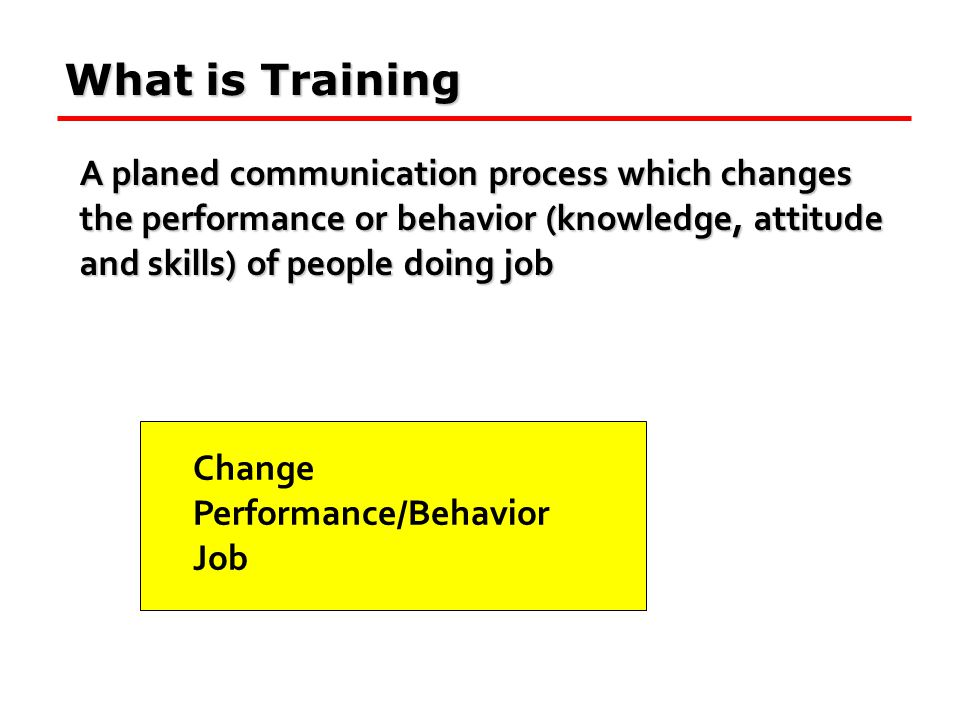 What is Training A planed communication process which changes the performance or behavior (knowledge, attitude and skills) of people doing job Change
