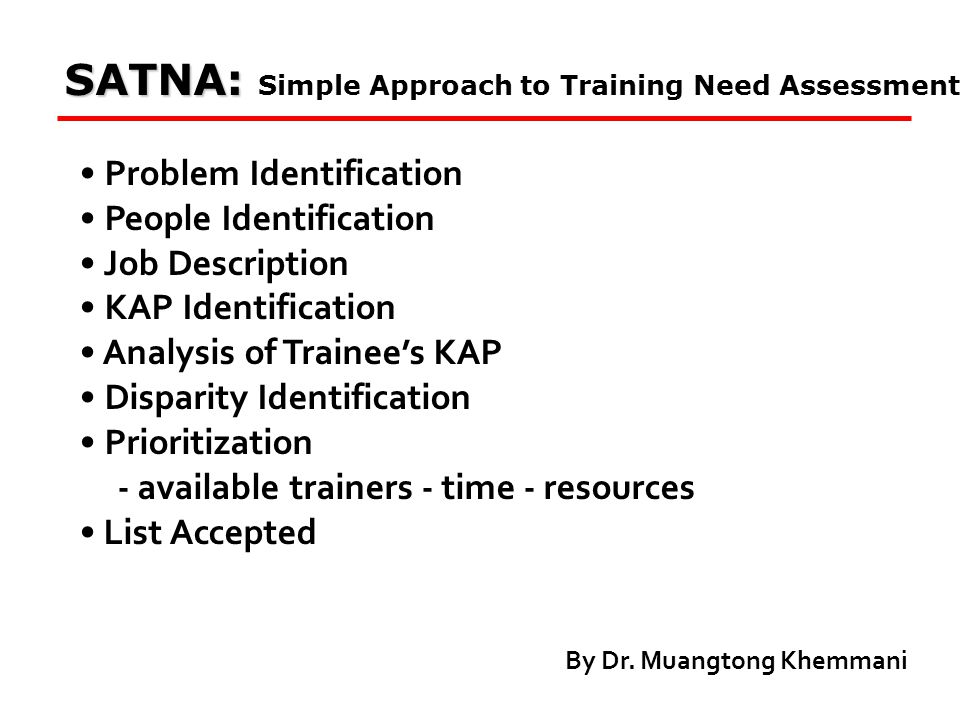 SATNA: SATNA: Simple Approach to Training Need Assessment Problem Identification People Identification Job Description KAP Identification Analysis of