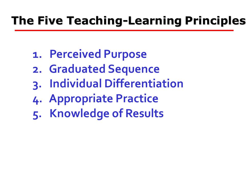 The Five Teaching-Learning Principles 1. Perceived Purpose 2.