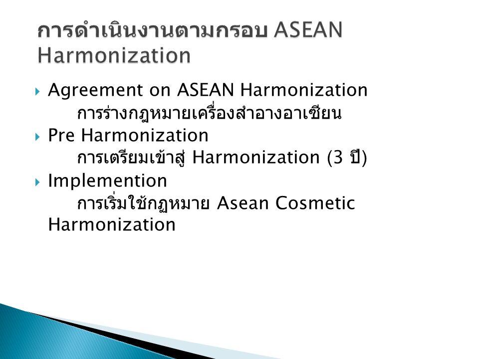  Agreement on ASEAN Harmonization การร่างกฎหมายเครื่องสำอางอาเซียน  Pre Harmonization การเตรียมเข้าสู่ Harmonization (3 ปี )  Implemention การเริ่มใช้กฏหมาย Asean Cosmetic Harmonization