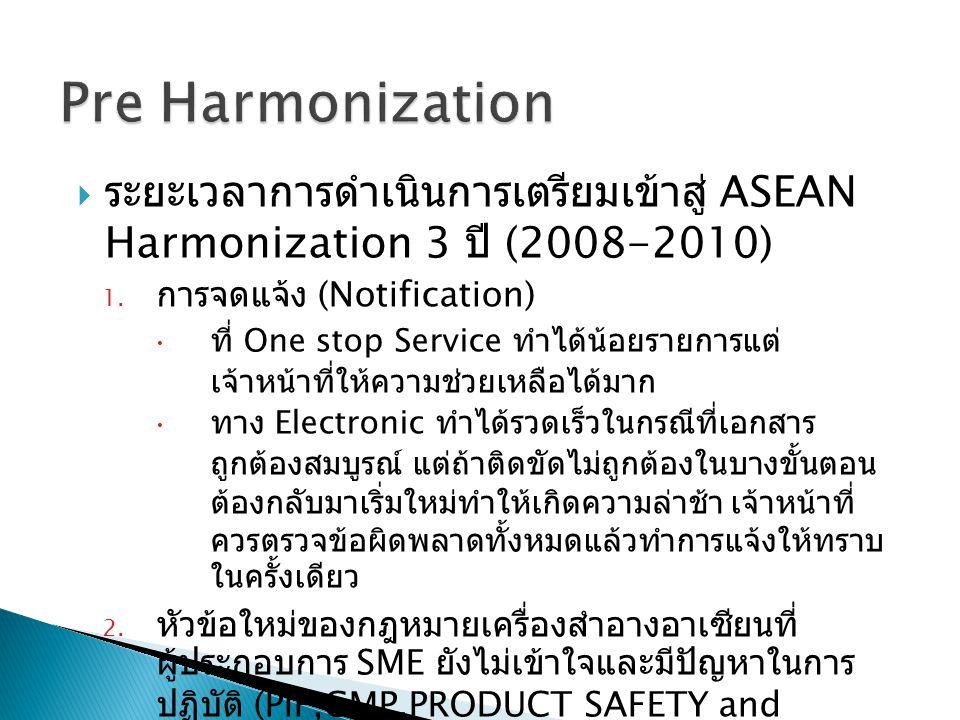  ระยะเวลาการดำเนินการเตรียมเข้าสู่ ASEAN Harmonization 3 ปี (2008-2010) 1.