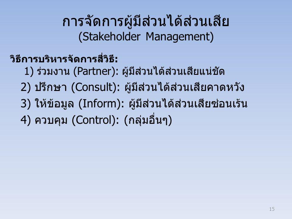 การจัดการผู้มีส่วนได้ส่วนเสีย (Stakeholder Management) วิธีการบริหารจัดการสี่วิธี: 1) ร่วมงาน (Partner): ผู้มีส่วนได้ส่วนเสียแน่ชัด 2) ปรึกษา (Consult): ผู้มีส่วนได้ส่วนเสียคาดหวัง 3) ให้ข้อมูล (Inform): ผู้มีส่วนได้ส่วนเสียซ่อนเร้น 4) ควบคุม (Control): (กลุ่มอื่นๆ) 15