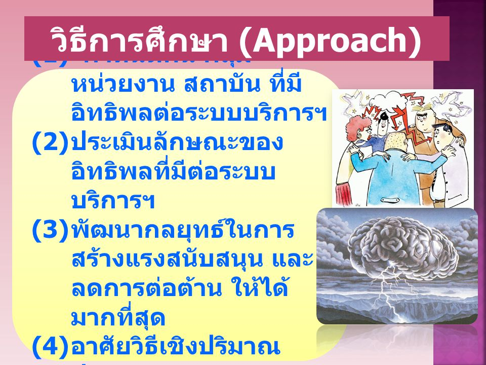 (1) กำหนดคน กลุ่ม หน่วยงาน สถาบัน ที่มี อิทธิพลต่อระบบบริการฯ (2) ประเมินลักษณะของ อิทธิพลที่มีต่อระบบ บริการฯ (3) พัฒนากลยุทธ์ในการ สร้างแรงสนับสนุน และ ลดการต่อต้าน ให้ได้ มากที่สุด (4) อาศัยวิธีเชิงปริมาณ ประกอบเชิงคุณภาพ วิธีการศึกษา (Approach)