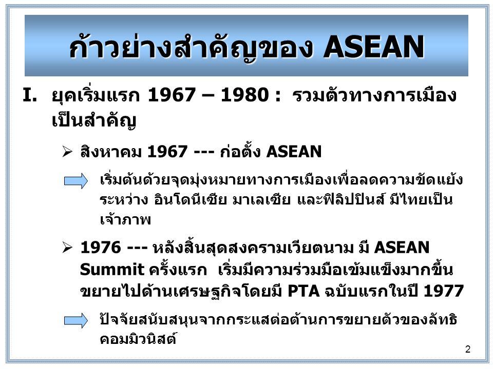 2 ก้าวย่างสำคัญของ ASEAN I.ยุคเริ่มแรก 1967 – 1980 : รวมตัวทางการเมือง เป็นสำคัญ  สิงหาคม 1967 --- ก่อตั้ง ASEAN เริ่มต้นด้วยจุดมุ่งหมายทางการเมืองเพื่อลดความขัดแย้ง ระหว่าง อินโดนีเซีย มาเลเซีย และฟิลิปปินส์ มีไทยเป็น เจ้าภาพ  1976 --- หลังสิ้นสุดสงครามเวียตนาม มี ASEAN Summit ครั้งแรก เริ่มมีความร่วมมือเข้มแข็งมากขึ้น ขยายไปด้านเศรษฐกิจโดยมี PTA ฉบับแรกในปี 1977 ปัจจัยสนับสนุนจากกระแสต่อต้านการขยายตัวของลัทธิ คอมมิวนิสต์