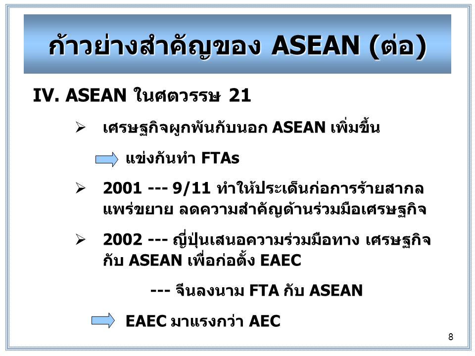 8 IV.ASEAN ในศตวรรษ 21  เศรษฐกิจผูกพันกับนอก ASEAN เพิ่มขึ้น แข่งกันทำ FTAs  2001 --- 9/11 ทำให้ประเด็นก่อการร้ายสากล แพร่ขยาย ลดความสำคัญด้านร่วมมือเศรษฐกิจ  2002 --- ญี่ปุ่นเสนอความร่วมมือทางเศรษฐกิจ กับ ASEAN เพื่อก่อตั้ง EAEC --- จีนลงนาม FTA กับ ASEAN EAEC มาแรงกว่า AEC ก้าวย่างสำคัญของ ASEAN (ต่อ)