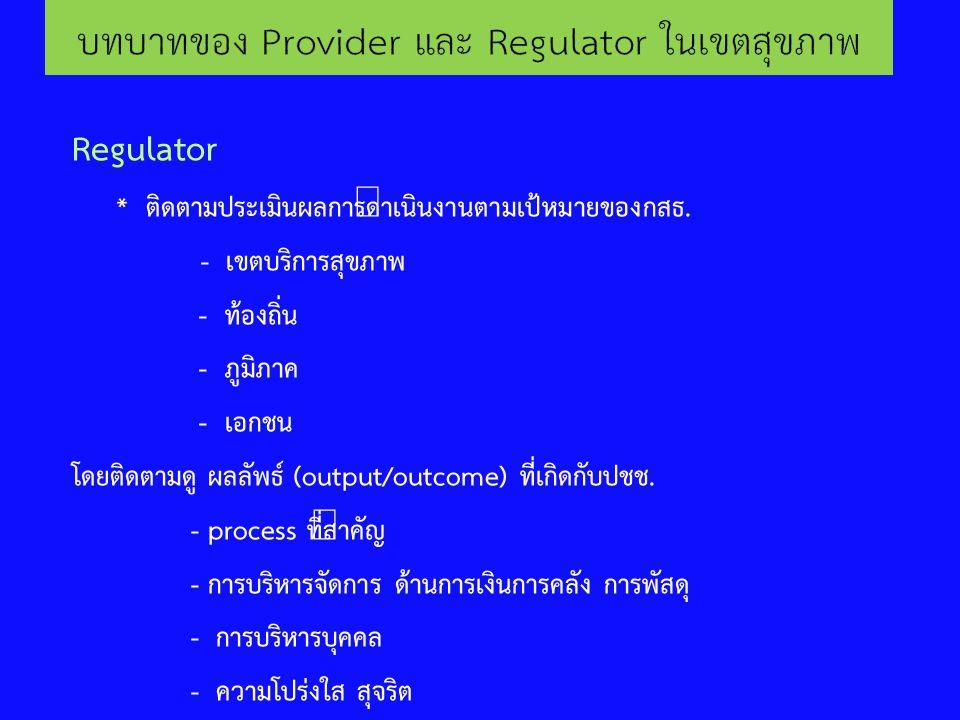 Regulator * ติดตามประเมินผลการดำเนินงานตามเป้หมายของกสธ. - เขตบริการสุขภาพ - ท้องถิ่น - ภูมิภาค - เอกชน โดยติดตามดู ผลลัพธ์ (output/outcome) ที่เกิดกั