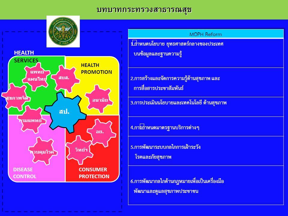 บทบาทกระทรวงสาธารณสุข สป. สบส. อย. แพทย์ แผนไทย กรมแพทย์ ควบคุมโรค อนามัย สุขภาพจิต วิทย์ฯ HEALTH SERVICES HEALTH PROMOTION DISEASE CONTROL CONSUMER P