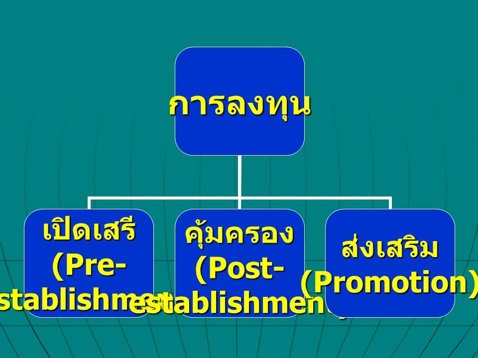 การลงทุน เปิดเสรี(Pre-establishment)คุ้มครอง (Post- establishment) ส่งเสริม(Promotion)