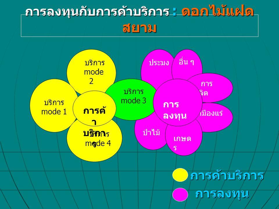 การลงทุนกับการค้าบริการ : ดอกไม้แฝด สยาม การค้าบริการ การลงทุน การลงทุน บริการ mode 2 บริการ mode 1 บริการ mode 4 เหมืองแร่ ป่าไม้ เกษต ร ประมง อื่น ๆ