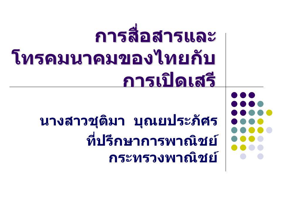 การสื่อสารและ โทรคมนาคมของไทยกับ การเปิดเสรี นางสาวชุติมา บุณยประภัศร ที่ปรึกษาการพาณิชย์ กระทรวงพาณิชย์