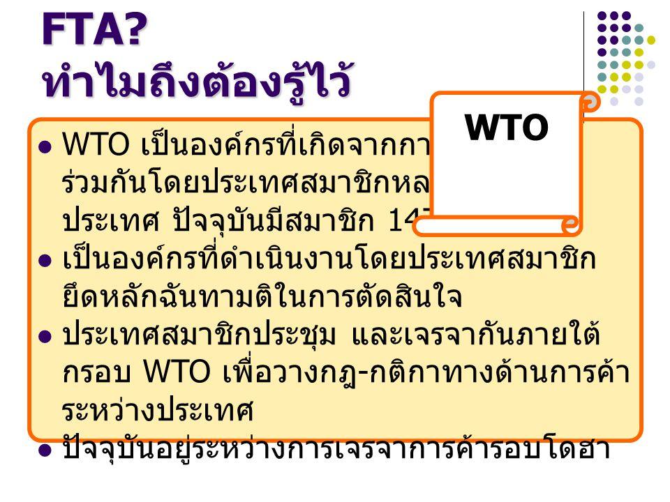 WTO เป็นองค์กรที่เกิดจากการก่อตั้ง ร่วมกันโดยประเทศสมาชิกหลาย ประเทศ ปัจจุบันมีสมาชิก 147 ประเทศ เป็นองค์กรที่ดำเนินงานโดยประเทศสมาชิก ยึดหลักฉันทามติในการตัดสินใจ ประเทศสมาชิกประชุม และเจรจากันภายใต้ กรอบ WTO เพื่อวางกฎ - กติกาทางด้านการค้า ระหว่างประเทศ ปัจจุบันอยู่ระหว่างการเจรจาการค้ารอบโดฮา อะไรคือ WTO.
