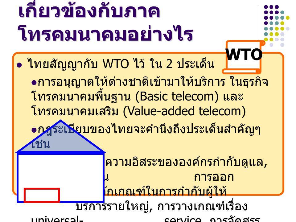 ไทยสัญญากับ WTO ไว้ ใน 2 ประเด็น การอนุญาตให้ต่างชาติเข้ามาให้บริการ ในธุรกิจ โทรคมนาคมพื้นฐาน (Basic telecom) และ โทรคมนาคมเสริม (Value-added telecom) กฎระเบียบของไทยจะคำนึงถึงประเด็นสำคัญๆ เช่น ความอิสระขององค์กรกำกับดูแล, ความโปร่งใสในการออก ใบอนุญาต, หลักเกณฑ์ในการกำกับผู้ให้ บริการรายใหญ่, การวางเกณฑ์เรื่อง universal-service, การจัดสรร คลื่นความถี่ WTO เกี่ยวข้องกับภาค โทรคมนาคมอย่างไร