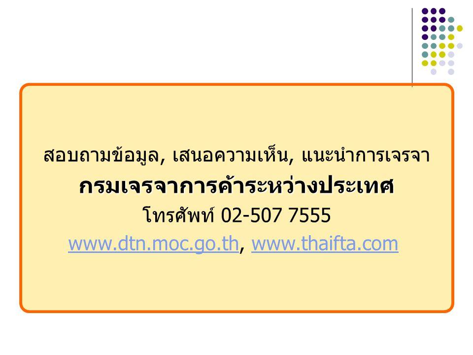 สอบถามข้อมูล, เสนอความเห็น, แนะนำการเจรจากรมเจรจาการค้าระหว่างประเทศ โทรศัพท์ 02-507 7555 www.dtn.moc.go.thwww.dtn.moc.go.th, www.thaifta.comwww.thaifta.com
