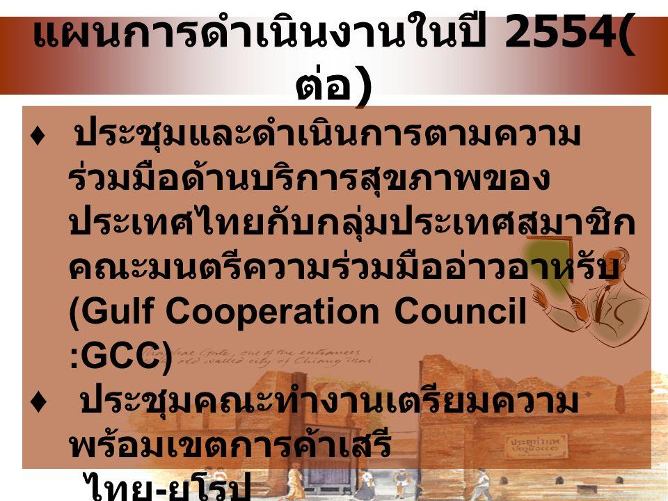 แผนการดำเนินงานในปี 2554( ต่อ ) ♦ ประชุมและดำเนินการตามความ ร่วมมือด้านบริการสุขภาพของ ประเทศไทยกับกลุ่มประเทศสมาชิก คณะมนตรีความร่วมมืออ่าวอาหรับ (Gulf Cooperation Council :GCC) ♦ ประชุมคณะทำงานเตรียมความ พร้อมเขตการค้าเสรี ไทย - ยุโรป ♦ จัดสรรงบประมาณผลผลิตธุรกิจ บริการสุขภาพฯลงสู่ จังหวัด