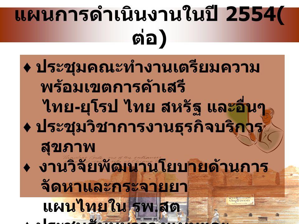 แผนการดำเนินงานในปี 2554( ต่อ ) ♦ ประชุมและดำเนินการตามความ ร่วมมือด้านบริการสุขภาพของ ประเทศไทยกับกลุ่มประเทศสมาชิก คณะมนตรีความร่วมมืออ่าวอาหรับ (Gu