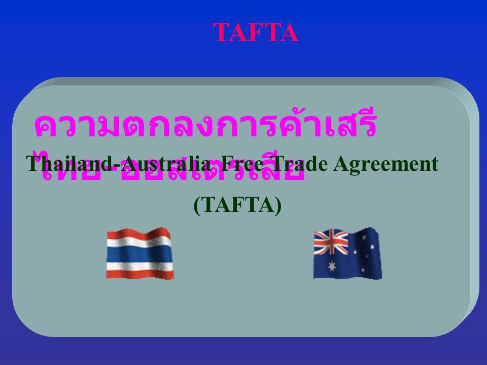 ประโยชน์และผลกระทบที่ไทยจะ ได้รับจากการทำ FTA ไทย - ออสเตรเลีย ออสเตรเลีย ลดภาษีสินค้าเกษตรและ อุตสาหกรรม ให้ไทยเหลือ 0% ทันที ในวันที่ 1 มกราคม 2548 จำนวนถึง 5,087 รายการ  สินค้าที่ไทยจะได้ประโยชน์ สินค้าเกษตร เช่น ข้าว กุ้งสด ผักและ ผลไม้ ทูนากระป๋อง และ สับปะรดกระป๋อง ฯลฯ สินค้าอุตสาหกรรม เช่น รถยนต์ขนาดเล็ก รถปิกอัพ เคมีภัณฑ์ ผลิตภัณฑ์พลาสติก สิ่งทอ และ เสื้อผ้าสำเร็จรูป เครื่องใช้ไฟฟ้า อัญมณีและ เครื่องประดับ ฯลฯ  ปัญหา SPS จะได้รับการแก้ไข