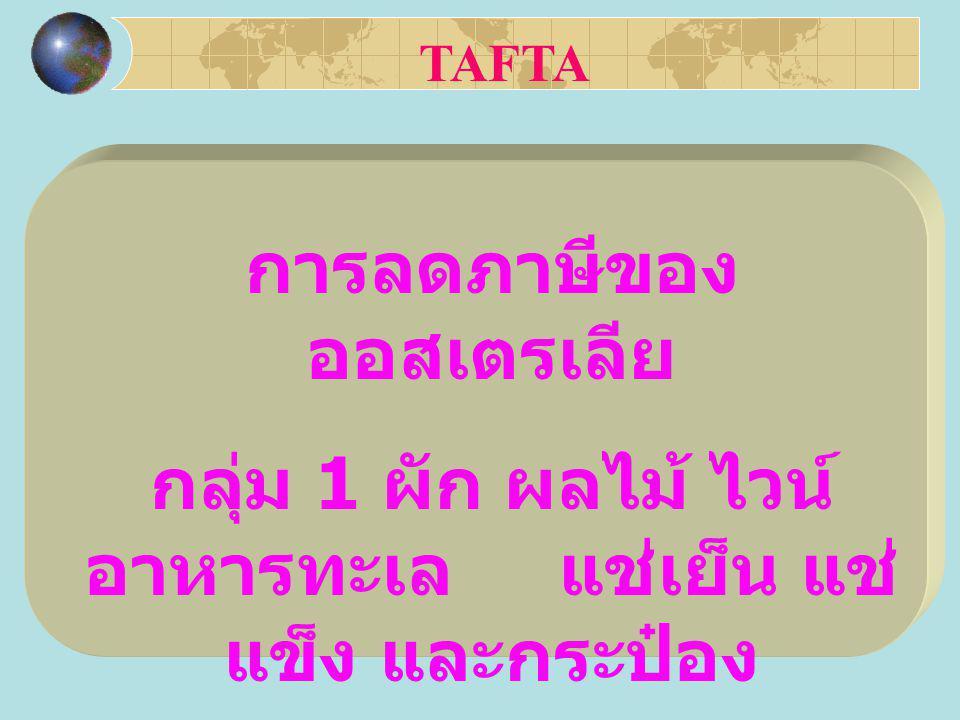 การลดภาษีของ ออสเตรเลีย กลุ่ม 1 ผัก ผลไม้ ไวน์ อาหารทะเล แช่เย็น แช่ แข็ง และกระป๋อง TAFTA
