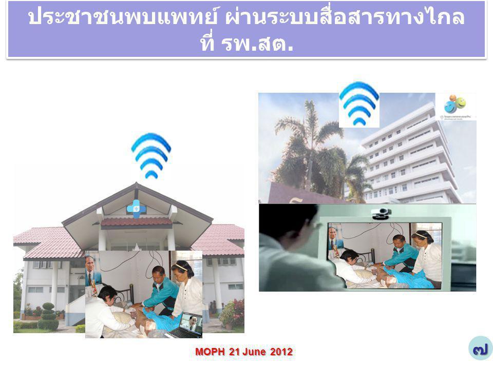 MOPH 21 June 2012 ประชาชนพบแพทย์ ผ่านระบบสื่อสารทางไกล ที่ รพ.สต. ประชาชนพบแพทย์ ผ่านระบบสื่อสารทางไกล ที่ รพ.สต. ๗