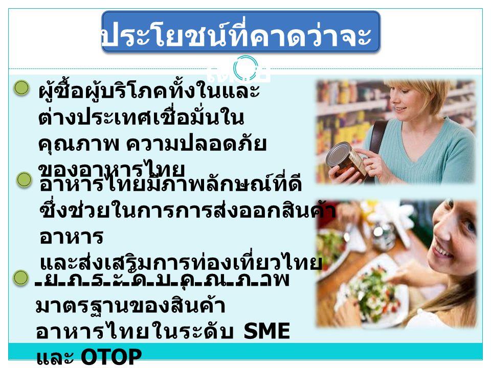 ประโยชน์ที่คาดว่าจะ ได้รับ ผู้ซื้อผู้บริโภคทั้งในและ ต่างประเทศเชื่อมั่นใน คุณภาพ ความปลอดภัย ของอาหารไทย ยกระดับคุณภาพ มาตรฐานของสินค้า อาหารไทยในระดับ SME และ OTOP ให้สามารถแข่งขันใน ตลาดการค้าเสรีได้ อาหารไทยมีภาพลักษณ์ที่ดี ซึ่งช่วยในการการส่งออกสินค้า อาหาร และส่งเสริมการท่องเที่ยวไทย
