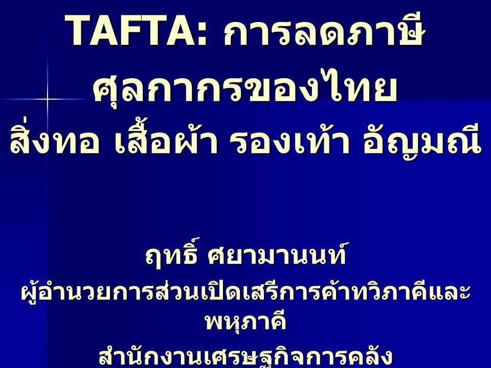 TAFTA: การลดภาษี ศุลกากรของไทย สิ่งทอ เสื้อผ้า รองเท้า อัญมณี ฤทธิ์ ศยามานนท์ ผู้อำนวยการส่วนเปิดเสรีการค้าทวิภาคีและ พหุภาคี สำนักงานเศรษฐกิจการคลัง 28 กรกฎาคม 2547