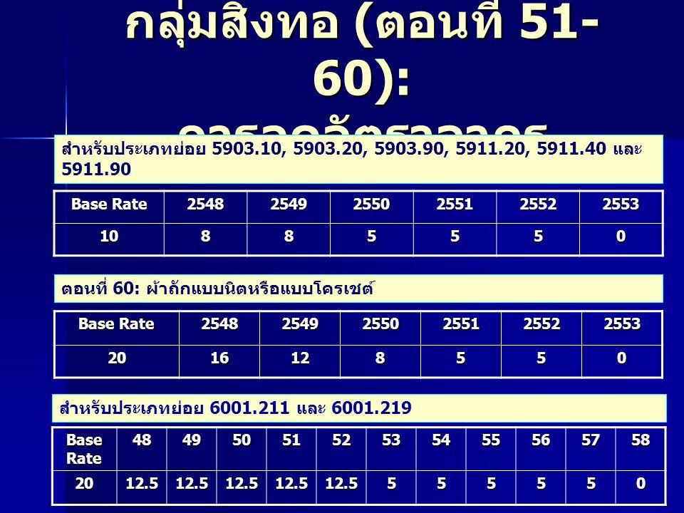 กลุ่มสิ่งทอ ( ตอนที่ 51- 60): การลดอัตราอากร สำหรับประเภทย่อย 5903.10, 5903.20, 5903.90, 5911.20, 5911.40 และ 5911.90 Base Rate 2548 2549 2550 2551 2552 2553 10885550 Base Rate 2548 2549 2550 2551 2552 25532016128550 ตอนที่ 60: ผ้าถักแบบนิตหรือแบบโครเชต์ สำหรับประเภทย่อย 6001.211 และ 6001.219 Base Rate 48495051525354555657582012.512.512.512.512.5555550