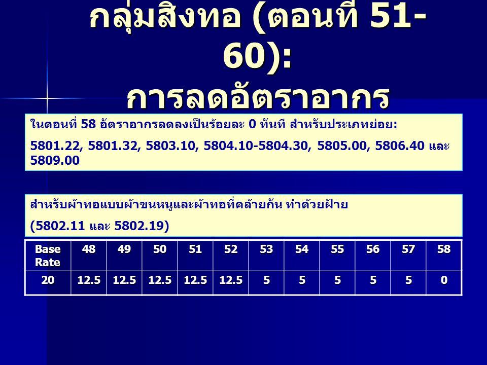 กลุ่มสิ่งทอ ( ตอนที่ 51- 60): การลดอัตราอากร ในตอนที่ 58 อัตราอากรลดลงเป็นร้อยละ 0 ทันที สำหรับประเภทย่อย: 5801.22, 5801.32, 5803.10, 5804.10-5804.30, 5805.00, 5806.40 และ 5809.00 สำหรับผ้าทอแบบผ้าขนหนูและผ้าทอที่คล้ายกัน ทำด้วยฝ้าย (5802.11 และ 5802.19) Base Rate 4849505152535455565758 2012.512.512.512.512.5555550