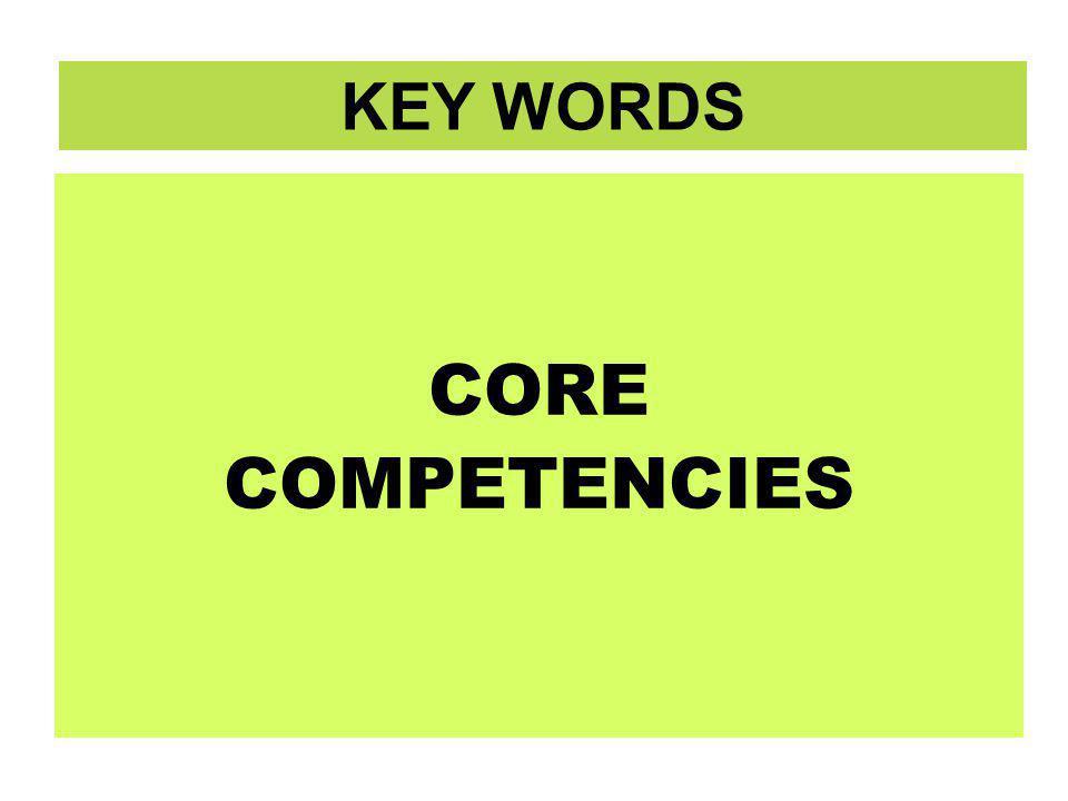 CORE COMPETENCIES CORE COMPETENCIES KEY WORDS