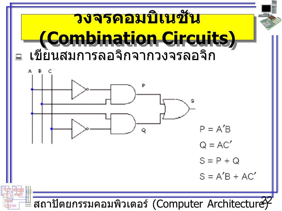 สถาปัตยกรรมคอมพิวเตอร์ (Computer Architecture) 22 วงจรคอมบิเนชัน (Combination Circuits)  เขียนสมการลอจิกจากวงจรลอจิก