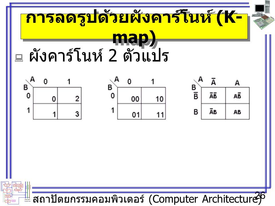 สถาปัตยกรรมคอมพิวเตอร์ (Computer Architecture) 26 การลดรูปด้วยผังคาร์โนห์ (K- map)  ผังคาร์โนห์ 2 ตัวแปร