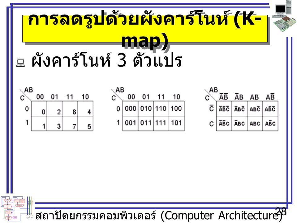 สถาปัตยกรรมคอมพิวเตอร์ (Computer Architecture) 28 การลดรูปด้วยผังคาร์โนห์ (K- map)  ผังคาร์โนห์ 3 ตัวแปร