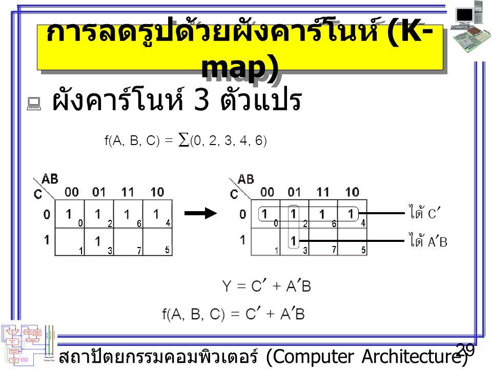 สถาปัตยกรรมคอมพิวเตอร์ (Computer Architecture) 29 การลดรูปด้วยผังคาร์โนห์ (K- map)  ผังคาร์โนห์ 3 ตัวแปร