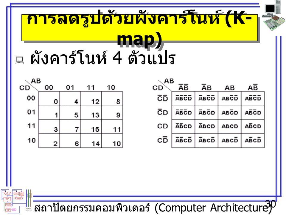 สถาปัตยกรรมคอมพิวเตอร์ (Computer Architecture) 30 การลดรูปด้วยผังคาร์โนห์ (K- map)  ผังคาร์โนห์ 4 ตัวแปร