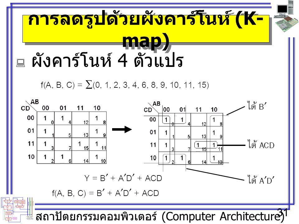 สถาปัตยกรรมคอมพิวเตอร์ (Computer Architecture) 31 การลดรูปด้วยผังคาร์โนห์ (K- map)  ผังคาร์โนห์ 4 ตัวแปร