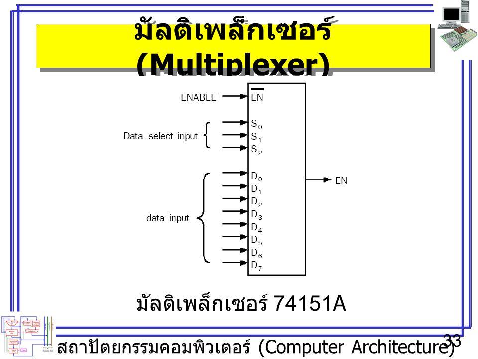สถาปัตยกรรมคอมพิวเตอร์ (Computer Architecture) 33 มัลติเพล็กเซอร์ (Multiplexer) มัลติเพล็กเซอร์ 74151A