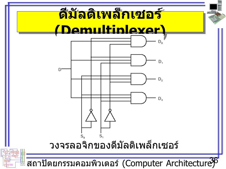 สถาปัตยกรรมคอมพิวเตอร์ (Computer Architecture) 36 ดีมัลติเพล็กเซอร์ (Demultiplexer) วงจรลอจิกของดีมัลติเพล็กเซอร์