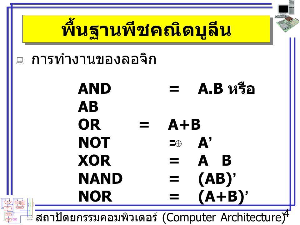 สถาปัตยกรรมคอมพิวเตอร์ (Computer Architecture) 4 พื้นฐานพีชคณิตบูลีน  การทำงานของลอจิก AND=A.B หรือ AB OR=A+B NOT=A' XOR=A B NAND=(AB)' NOR=(A+B)'