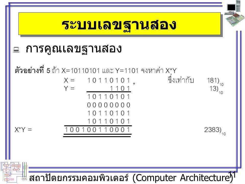 สถาปัตยกรรมคอมพิวเตอร์ (Computer Architecture) 11 ระบบเลขฐานสอง  การคูณเลขฐานสอง