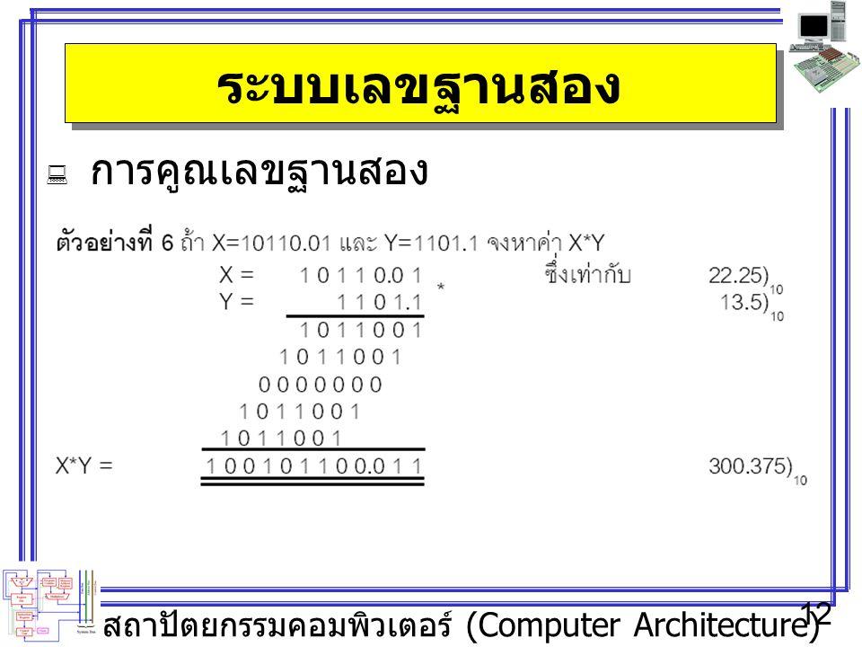 สถาปัตยกรรมคอมพิวเตอร์ (Computer Architecture) 12 ระบบเลขฐานสอง  การคูณเลขฐานสอง