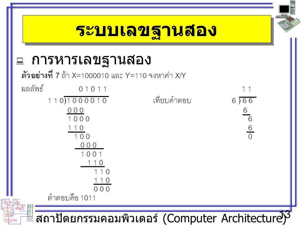 สถาปัตยกรรมคอมพิวเตอร์ (Computer Architecture) 13 ระบบเลขฐานสอง  การหารเลขฐานสอง