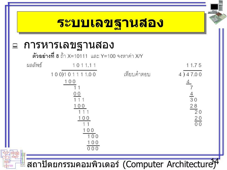 สถาปัตยกรรมคอมพิวเตอร์ (Computer Architecture) 14 ระบบเลขฐานสอง  การหารเลขฐานสอง