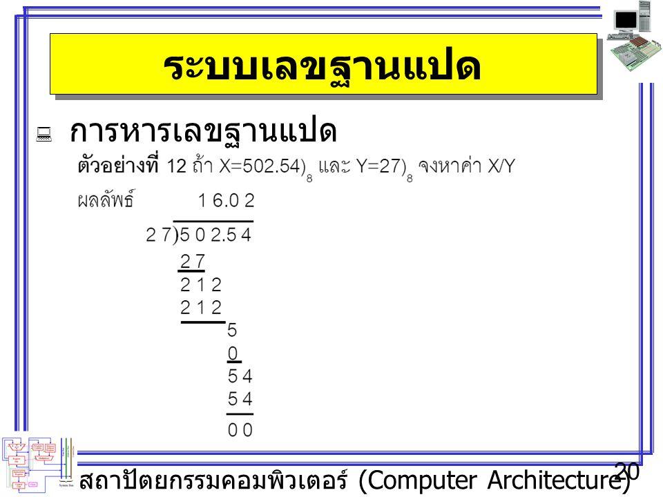 สถาปัตยกรรมคอมพิวเตอร์ (Computer Architecture) 20 ระบบเลขฐานแปด  การหารเลขฐานแปด