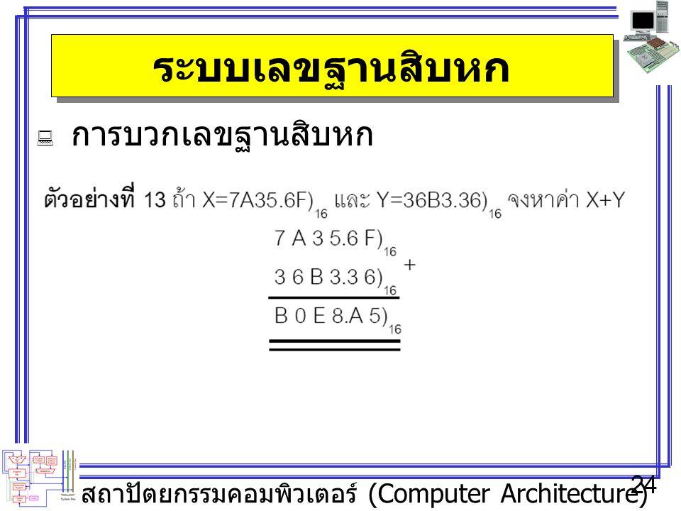 สถาปัตยกรรมคอมพิวเตอร์ (Computer Architecture) 24 ระบบเลขฐานสิบหก  การบวกเลขฐานสิบหก