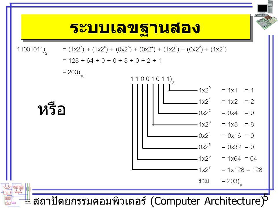 สถาปัตยกรรมคอมพิวเตอร์ (Computer Architecture) 5 ระบบเลขฐานสอง หรือ